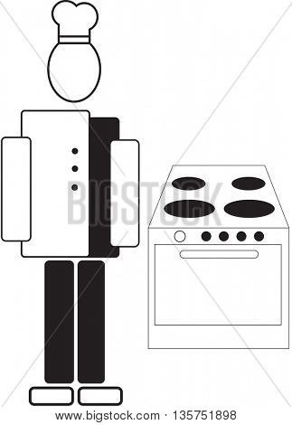 Silhouette of waiter and stove