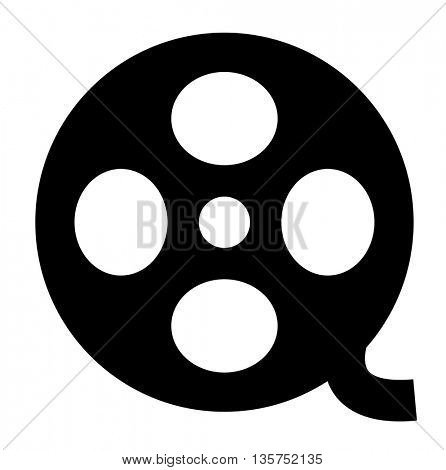 55mm movie film strip. Cinema Film Roll isolated on white background.