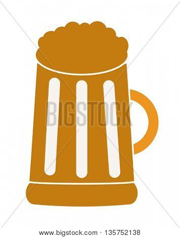 cartoon Mug with beer on white background