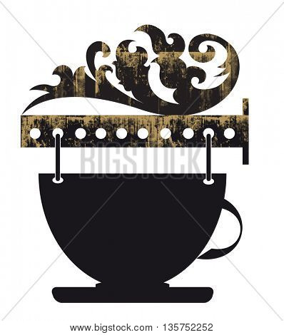 decorative signs for cafe with cup  icons,signboard outdoor advertising vintage graphics