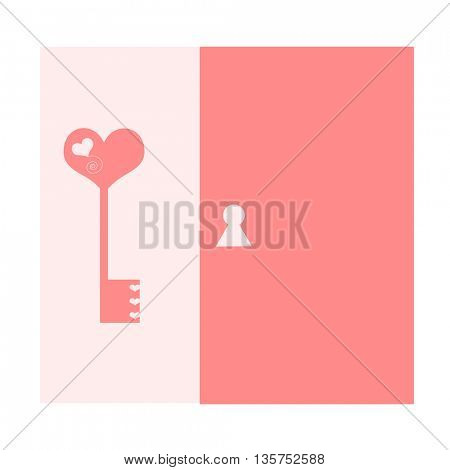 key in heart shape and door- key to the heart