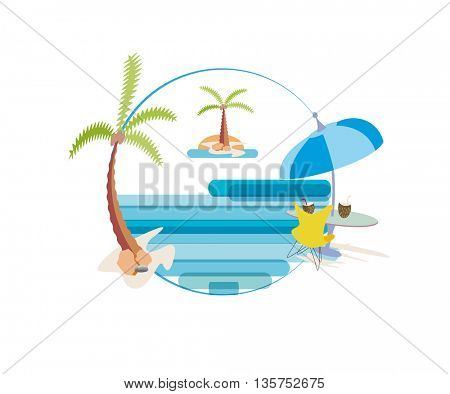 Beach chair and umbrella on idyllic tropical sand beach,palm trees and sea