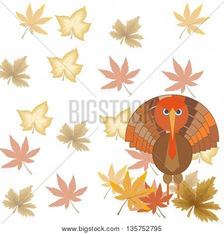 Cute cartoon Thanksgiving turkey