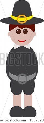 Cute cartoon Thanksgiving boy-Man with a typical thanksgiving dress