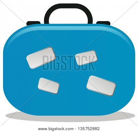 blue suitcase for traveling