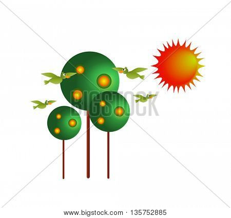 new cartoon style tree icon,SUN AND BIRDS isolated on white background