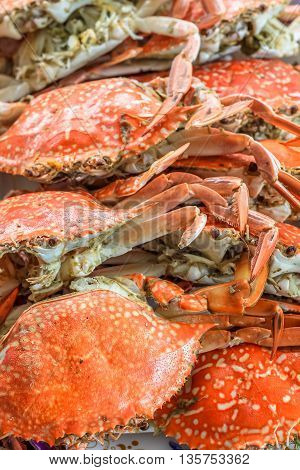 close up top view steamed crabs in the restaurant for lunch and dinner