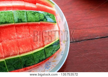 close up top view style of peeled watermelon ready to eat.