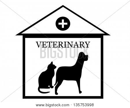 veterinary care icon with dog and cat silhouette