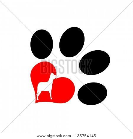 I love dog message,pup paw with love symbol and a cute puppy