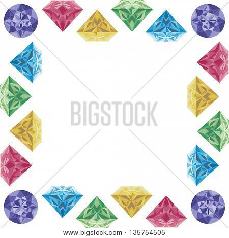 cartoon photo frame made of diamonds