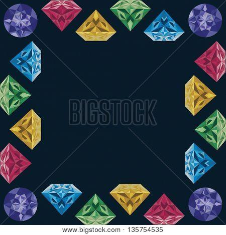 cartoon photo frame diamonds