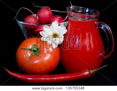 red juices in glasses and fruits and vegetbles