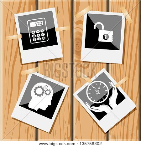 4 images: calculator, opened lock, human brain, clock in hands. Business set. Photo frames on wooden desk. Vector icons.