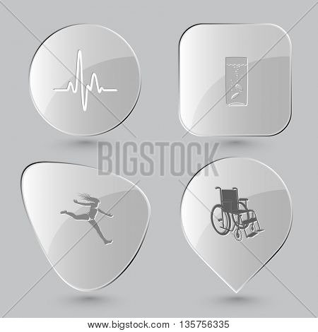 4 images: cardiogram, glass with tablets, jumping girl, invalid chair. Medical set. Glass buttons on gray background. Vector icons.