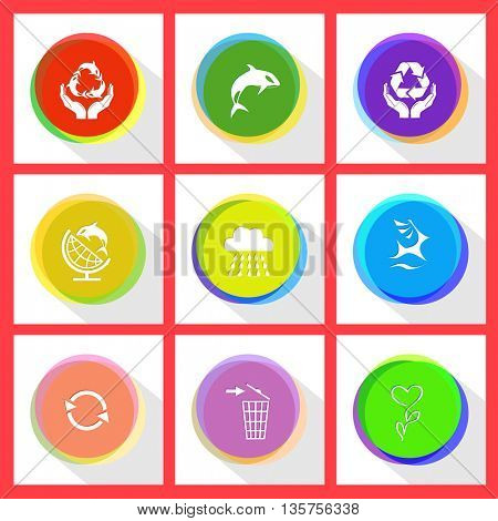 9 images: protection sea life, killer whale, protection nature, globe and shamoo, rain, deer, recycle symbol, recycling bin, flower. Nature set. Internet template. Vector icons.