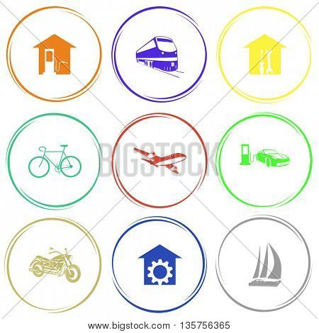 9 images: car fueling, train, workshop, bicycle, airliner, motorcycle, repair shop, yacht. Transport set. Internet button. Vector icons.