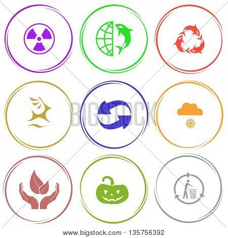 9 images: radiation symbol, globe and shamoo, killer whale as recycling symbol, deer, recycle symbol, snowfall, life in hands, pumpkin, recycling bin. Nature set. Internet button. Vector icons.