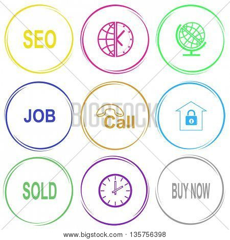 9 images: seo, globe and clock, job, hotline, bank, sold, buy now. Business set. Internet button. Vector icons.
