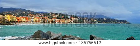 great panoramic view of Celle Ligure in Italy with colorful buildings