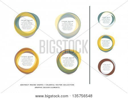 VECTOR ABSTRACT CIRCLE FRAME ELEMENTS , COLLECTION , METALLIC COLORS