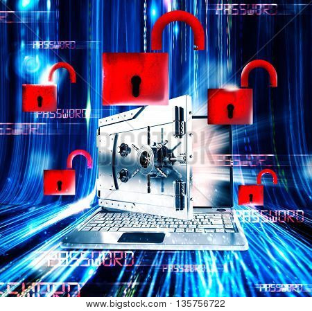 Laptop with monitor as a bank and open padlocks on the background 3d rendering