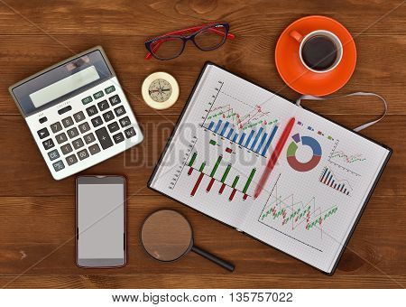 stock exchange statistics drawing in note pad and business elements on a desk