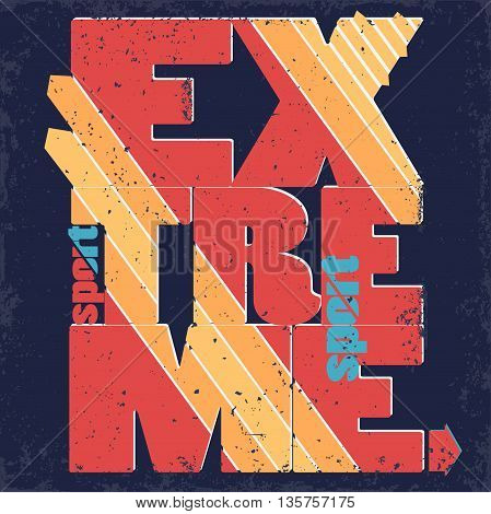 Extreme sport Typography print-label, skateboarding emblem, surfing t-shirt stamp design, snowboarding graphic print. vector