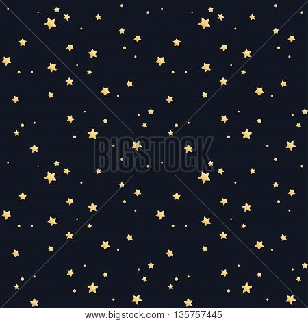 Seamless star pattern. Tileable vector texture. Golden stars on black background.