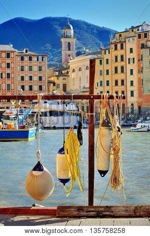 equipment in port of Italian fishing town Camogli Liguria
