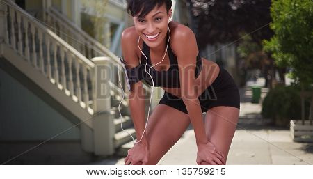 Athletic Healthy Black Woman Runner Resting During Jog On San Francisco City Street