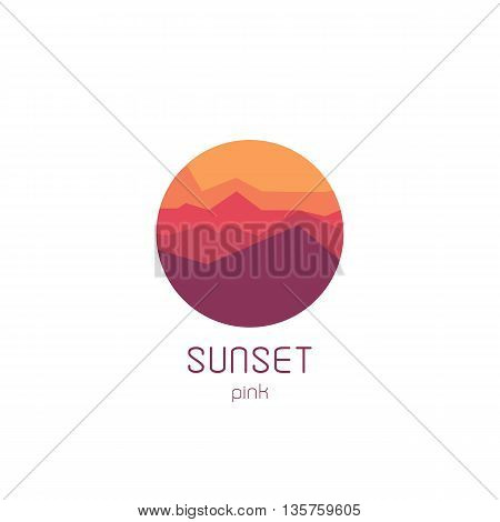 Isolated round sunset vector logo. Mountains silhouette. Minimalistic evening sky