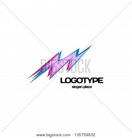 Isolated lightning vector logo. Bright purple color energy sign. Electricity symbol