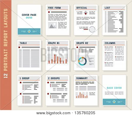 Report Layouts, Document Templates, Portrait Orientation, Vector Set