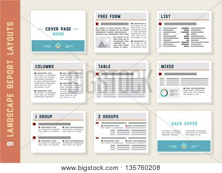 Report Layouts, Document Templates, Landscape Orientation, Vector Set