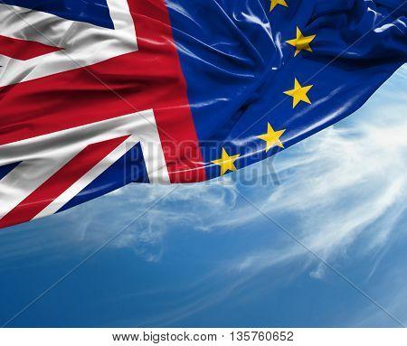 European Union and British Union flag