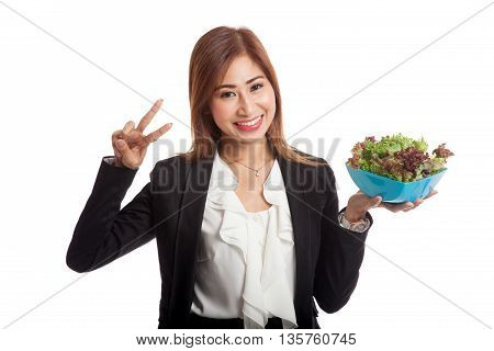 Healthy Asian Business Woman Show Victory Sign With Salad