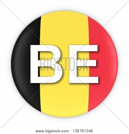 Belgium Flag Button With Two Letter Country Iso Code 3D Illustration