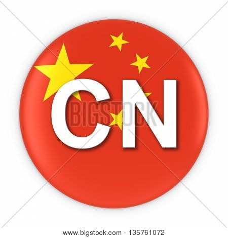 China Flag Button With Two Letter Country Iso Code 3D Illustration