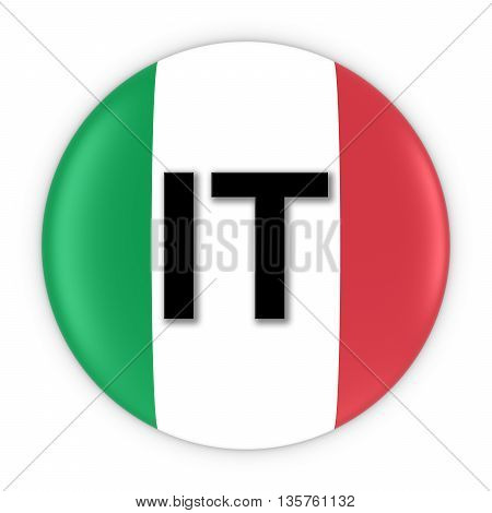 Italy Flag Button With Two Letter Country Iso Code 3D Illustration