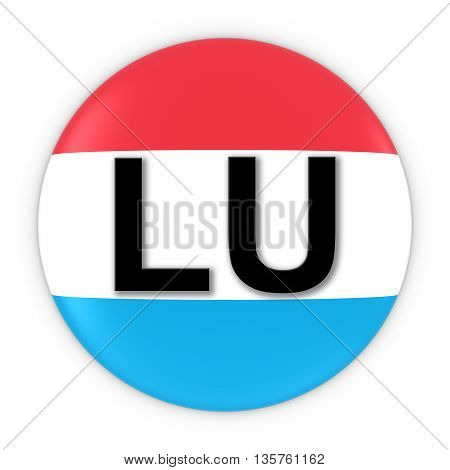 Luxembourg Flag Button With Two Letter Country Iso Code 3D Illustration