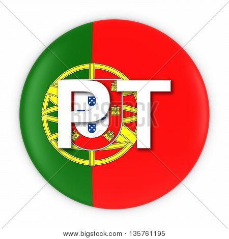 Portugal Flag Button With Two Letter Country Iso Code 3D Illustration