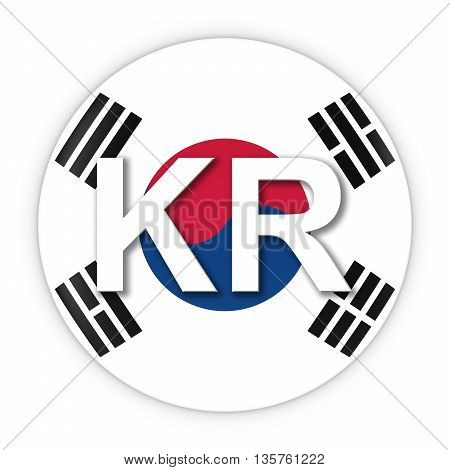 South Korea Flag Button With Two Letter Country Iso Code 3D Illustration