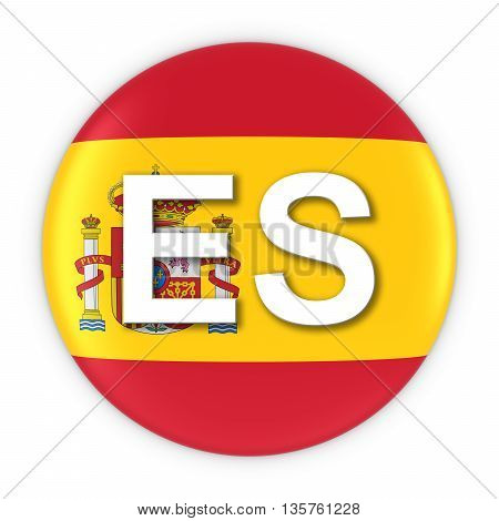 Spain Flag Button With Two Letter Country Iso Code 3D Illustration