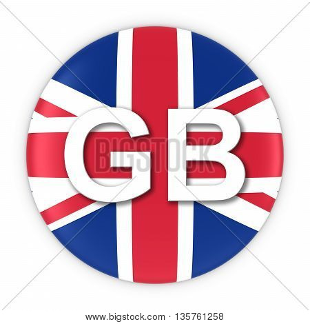 British Flag Button With Two Letter Country Iso Code 3D Illustration