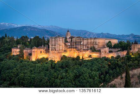 Sunset views of the Alhambra from el Mirador de San Nicolas Granada Andalucia Spain in Summer 2016