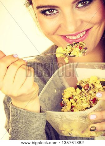 Woman Eat Oatmeal With Dry Fruits. Dieting
