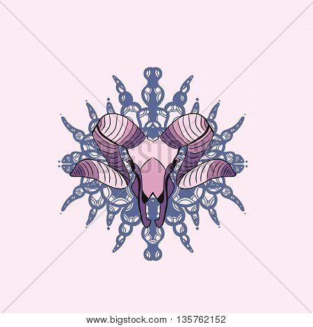 Violet and pink goat skull. Vector illustration