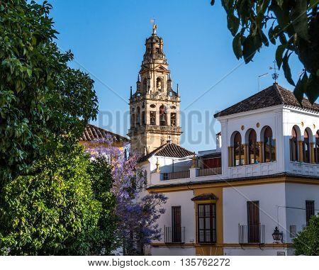 view of giralda bell tower at one of the side streets in Seville Spain