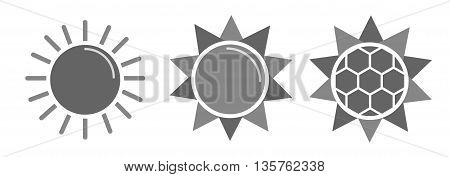 Collection of design vector suns, Grey tone